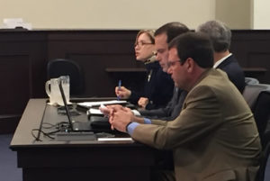 The group of four, Tim Tracy, Jay Morgan, David Lee and Rhonda Tracy, presented to legislators.